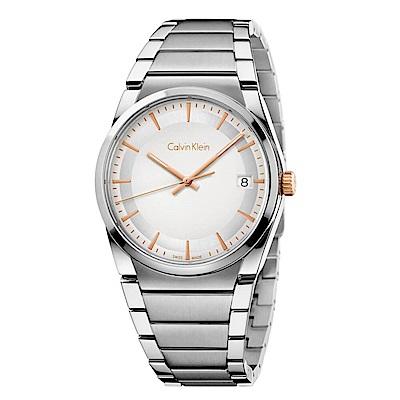 CK CALVIN KLEIN Step 型走系列白色面盤手錶-38mm