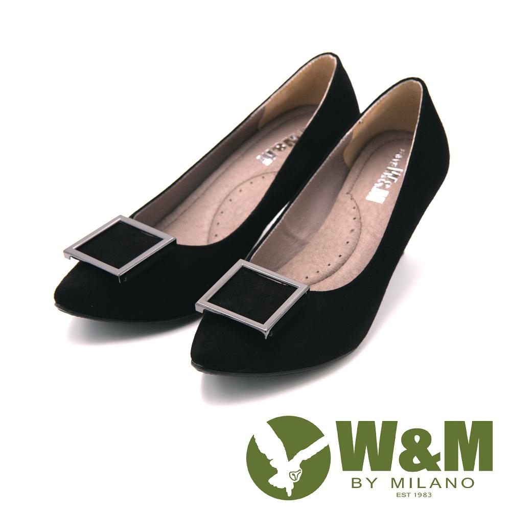 W&M-尖頭方飾高跟鞋 女鞋-黑