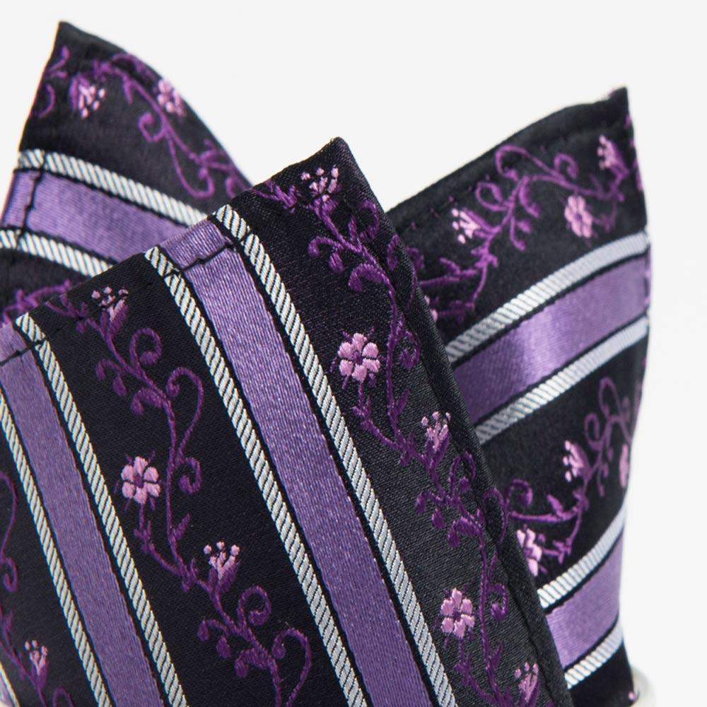 極品西服 100%絲質口袋方巾_紫斜紋