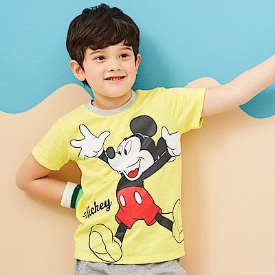 Disney 米奇系列俏皮歡心圓領上衣 黃色