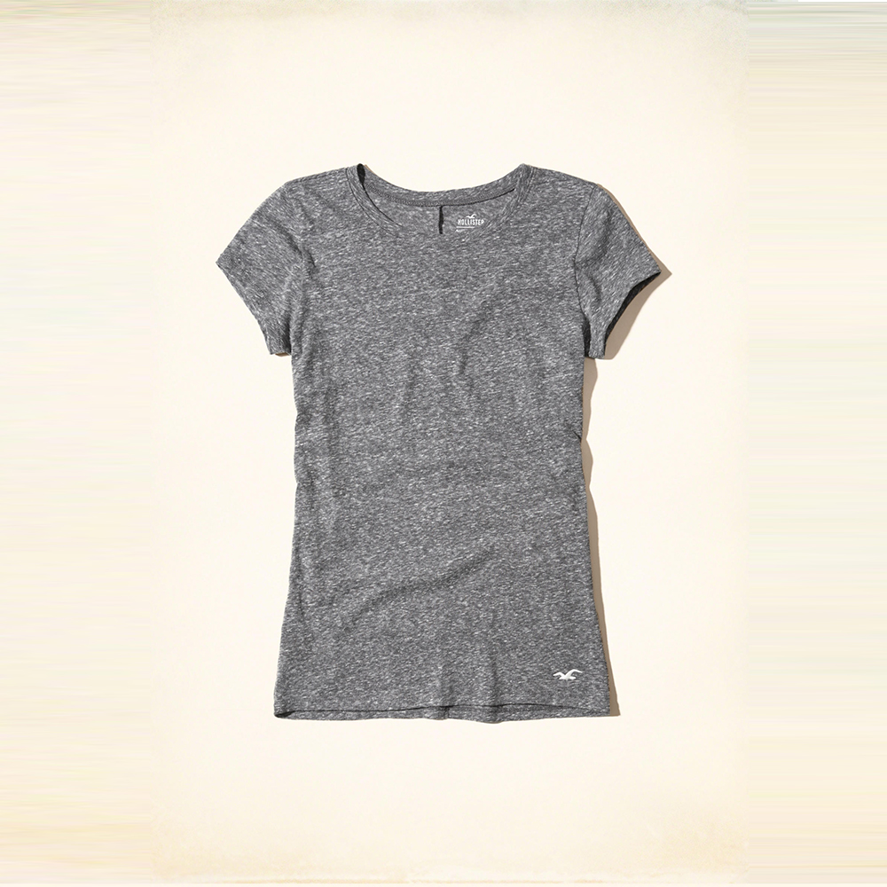 Hollister 經典海鷗刺繡圓領短袖T恤(女)-灰色 HCO
