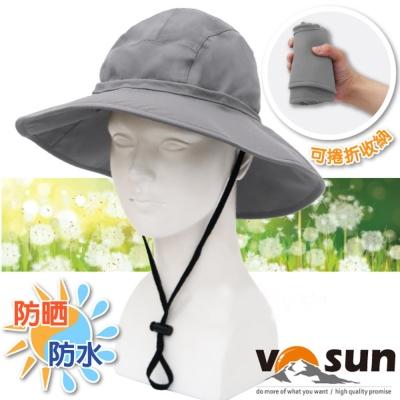 【VOSUN】熱賣款 經典時尚防水防曬大盤帽_鐵灰