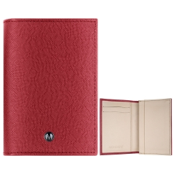 MONDAINE 瑞士國鐵牛皮十字紋豪華型名片夾-紅x米