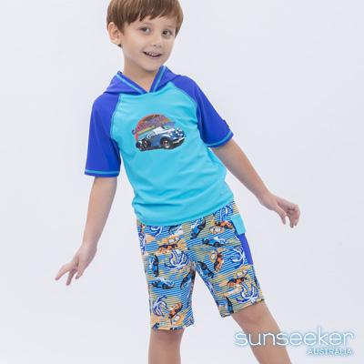 澳洲Sunseeker泳裝抗UV防曬短袖泳衣+泳褲-小男童兩件式泳衣組/汽車藍