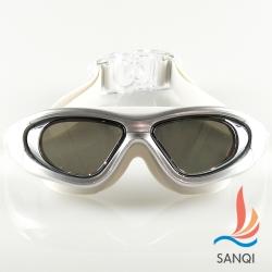 SANQI三奇 夏日必備全景抗UV防霧休閒泳鏡(910-銀F)