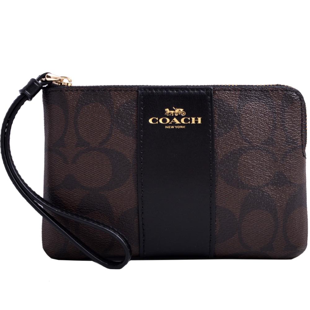 COACH 燙金Logo防刮皮革拼接直條全皮革拉鍊手拿包--咖啡/黑