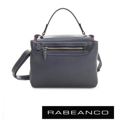 RABEANCO-迷時尚牛皮系列手提立體小方包-墨水藍