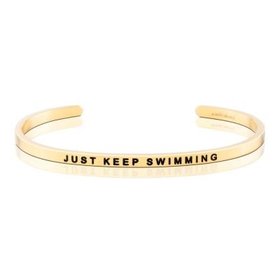 MANTRABAND 手環 JUST KEEP SWIMMING 繼續向前游就對了 金色