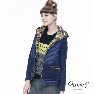 OUWEY歐薇-幾何撞色組織感厚實毛衣-黑