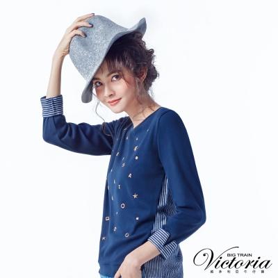 Victoria 貼片異材質拼接長袖T-女-深藍