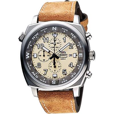 ORIENT 東方錶 怒海爭峰三眼計時腕錶-黃x棕/46mm