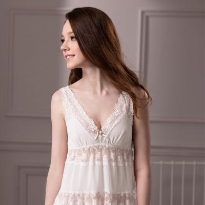 羅絲美睡衣 - 誘惑情人細肩帶洋裝睡衣 (米白色)