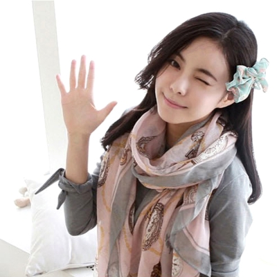 Aimee-Toff-環環時鐘纏繞巴黎紗圍巾-粉