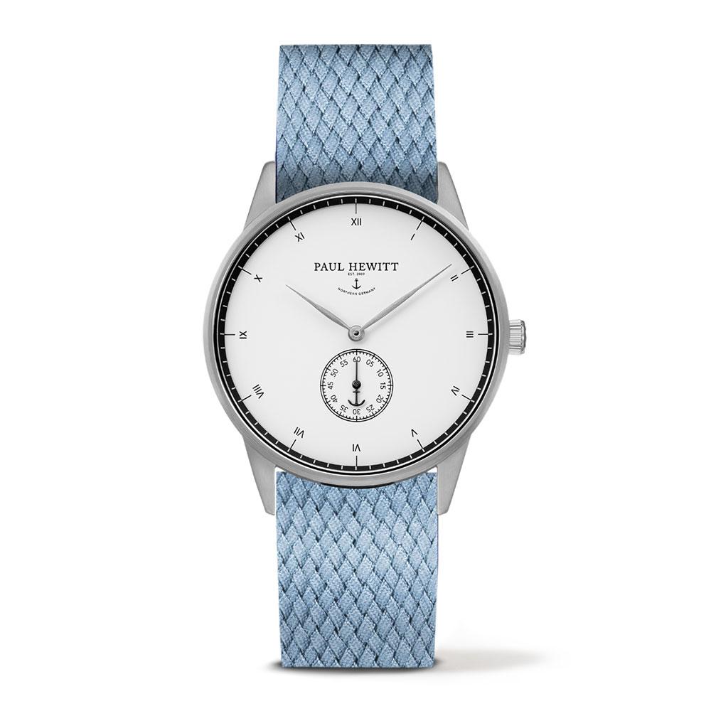 福利品-PAUL HEWITT Signature 小秒針手錶-白x尼加蘭色錶帶/38mm