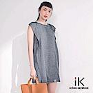 吳日云- 肩荷葉條紋洋裝灰色