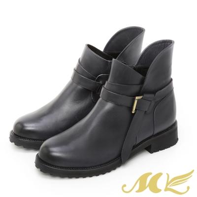 【MK】台灣真皮系列-刷色牛皮機車短靴-藍色