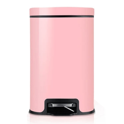 PUSH!  液壓緩降可固定垃圾袋垃圾桶12升L(粉色I17-2)