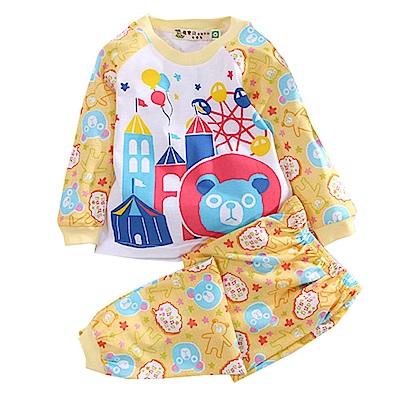 藍熊印花薄長袖居家套裝 黃 k50634 魔法Baby