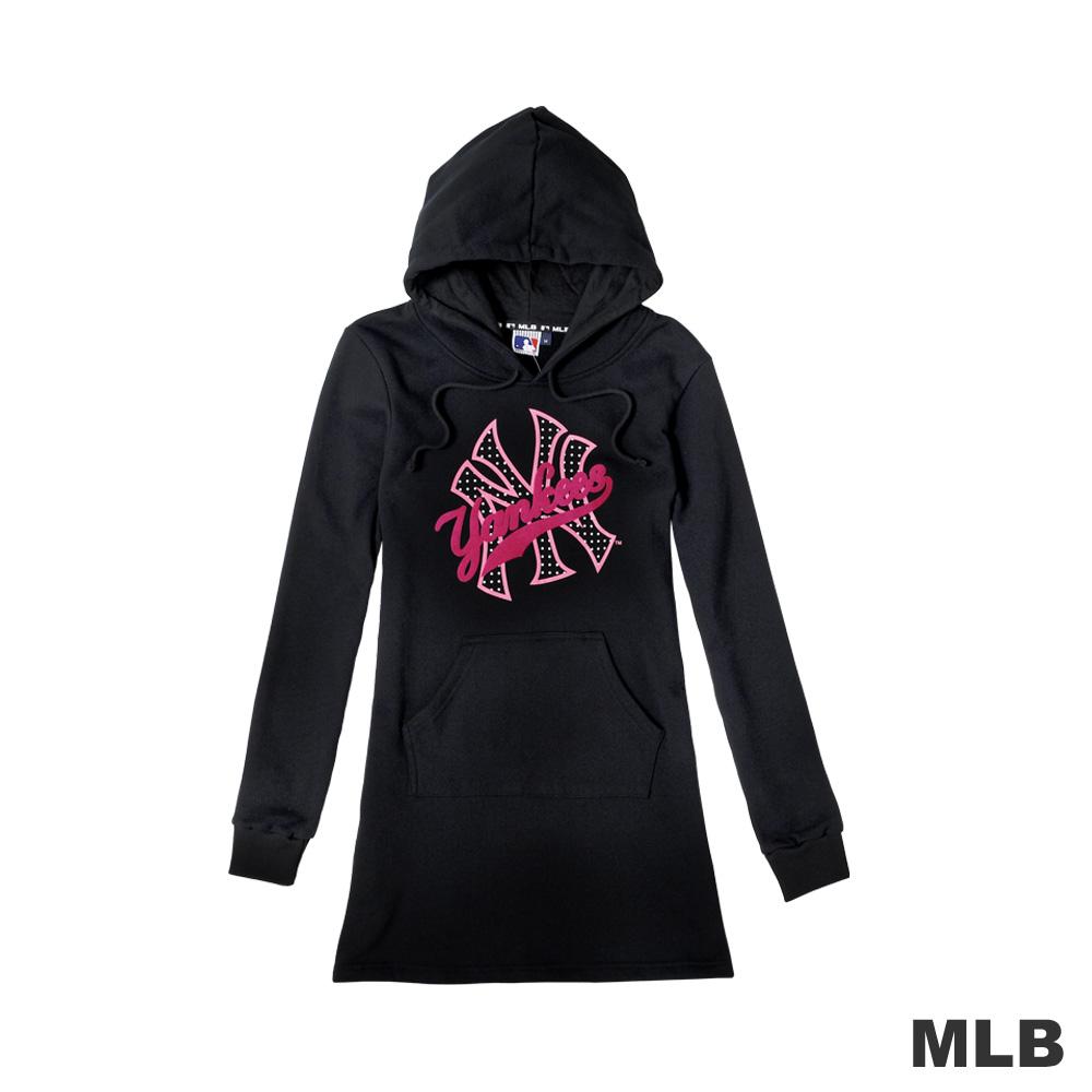 MLB-LOGO 洋基經典流行印花長版連帽T恤-黑色(女)