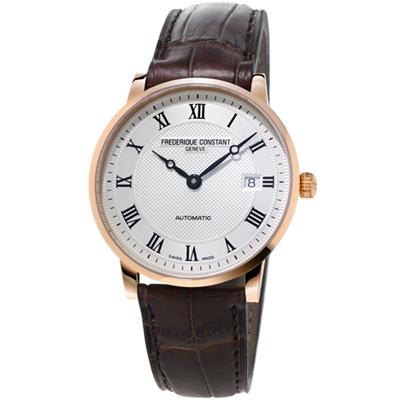 康斯登CLASSICS百年經典系列INDEX腕錶(18K金)-37mm/銀白x咖啡