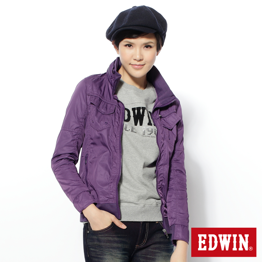EDWIN 專注個性 都會剪接外套-女款(紫褐)