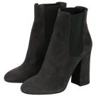 DOLCE & GABBANA 深灰色麂皮拼接設計粗跟短靴(展示品)
