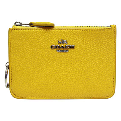 COACH-立體馬車荔枝紋皮革卡夾-零錢鑰匙包-鮮黃色