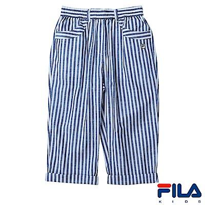 FILA KIDS #FUN開心 平織條紋短褲-藍5SHS-4426-BU