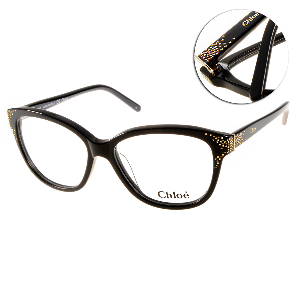 Chloe眼鏡 時尚金屬點綴系列/黑#CL2634 001