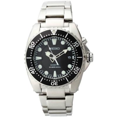 SEIKO 精工 KINETIC 人動電能200米潛水腕錶(SKA371P1)-黑/40mm