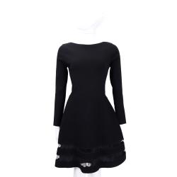 RED VALENTINO 黑色拼接波浪蕾絲剪裁長袖洋裝
