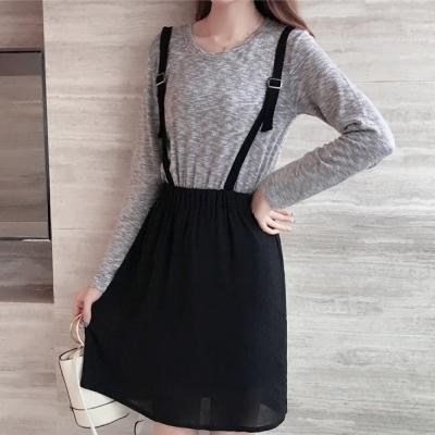 中大尺碼 灰色棉料上衣縮腰拼接黑色吊帶裙洋裝XL~4L-Ballet Dolly