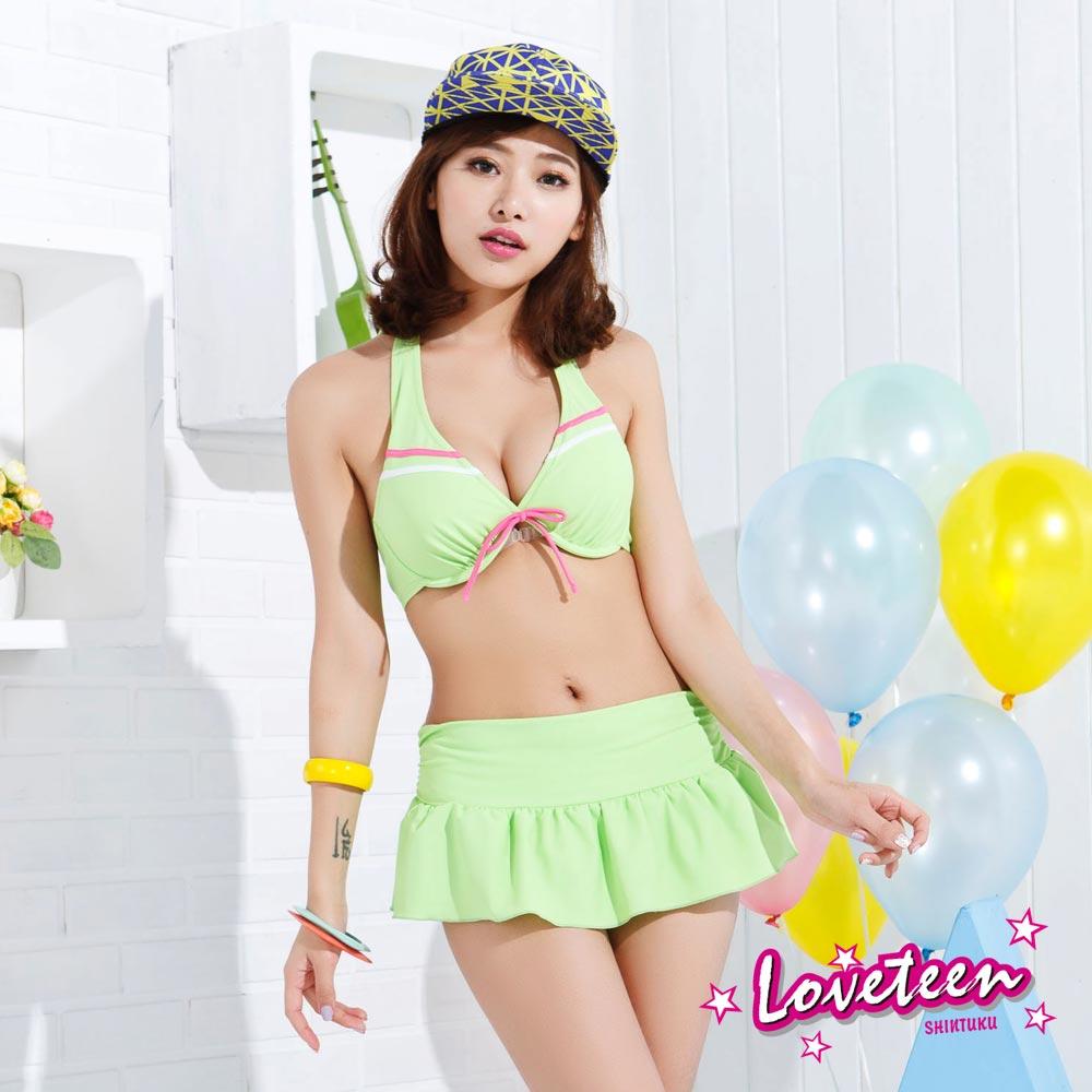 夏之戀SUMMERLOVE  鮮翠果綠比基尼三件式泳衣