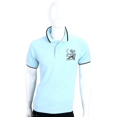 KENZO Sketches 水藍色素描刺繡棉質短袖POLO衫