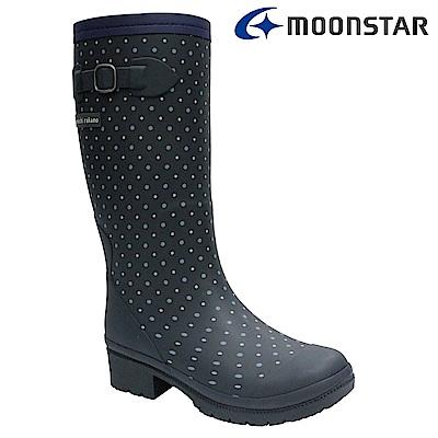 Moonstar日本 女 長筒保暖雨靴 (藍)