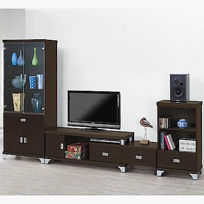 H&D 胡桃色8.8尺L型櫃組 (寬264.5X深39X高180cm)