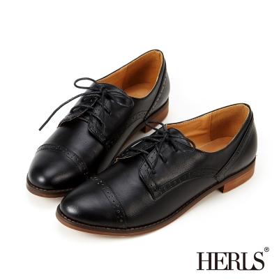 HERLS-內真皮優雅沖孔牛津鞋-黑色