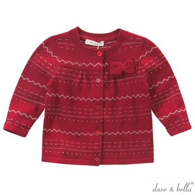 Dave Bella 紅色橫點線條胸口蝴蝶結針織外套