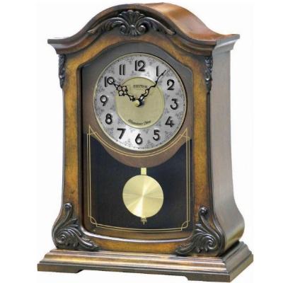 RHYTHM 日本麗聲 歐式古典 音樂 座鐘 桌鐘 -咖啡/24X32.5cm