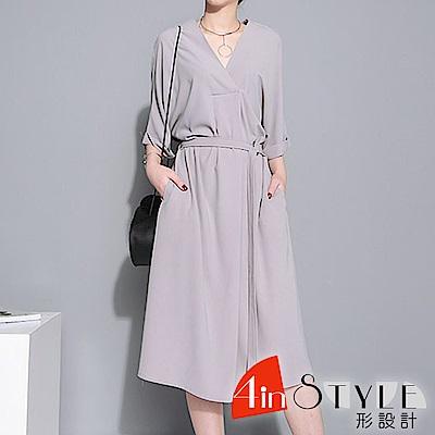 簡約V領綁帶寬鬆長款洋裝 (共二色)-4inSTYLE形設計