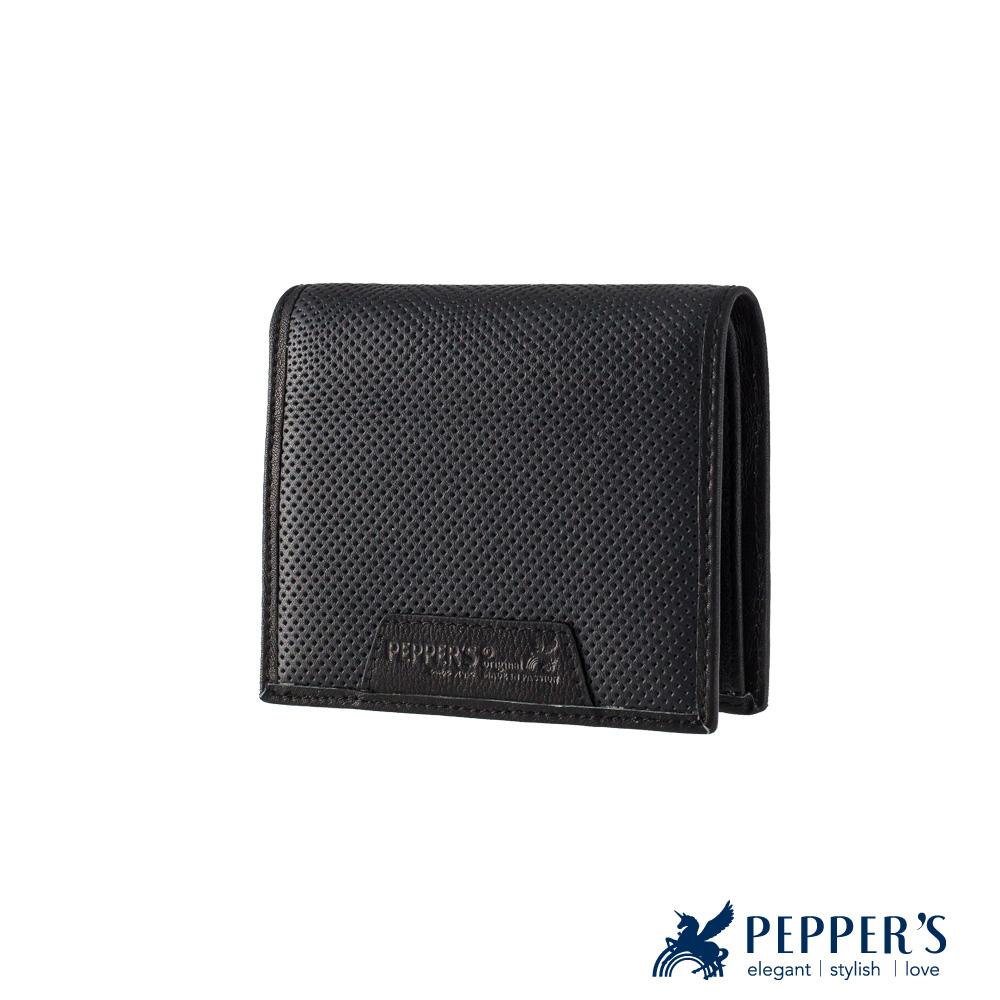 PEPPER`S 真皮胡椒短夾 - 煙燻黑