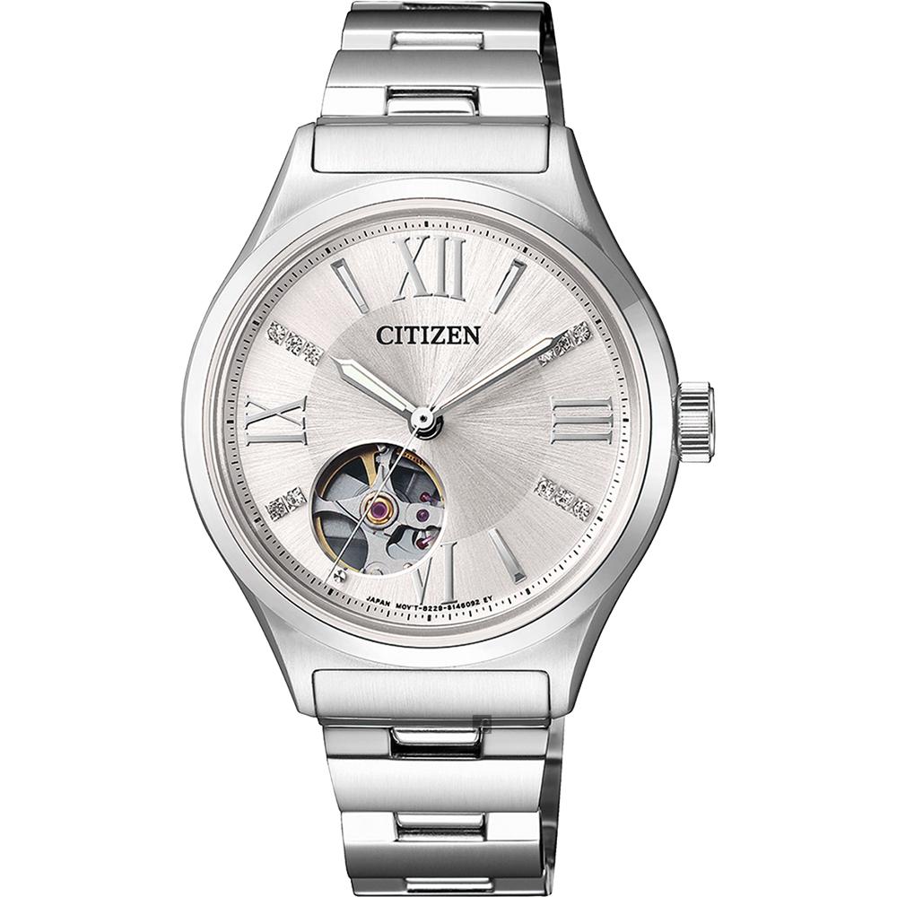CITIZEN星辰 施華洛世奇水晶鏤空機械女錶-銀/33mm PC1001-53A