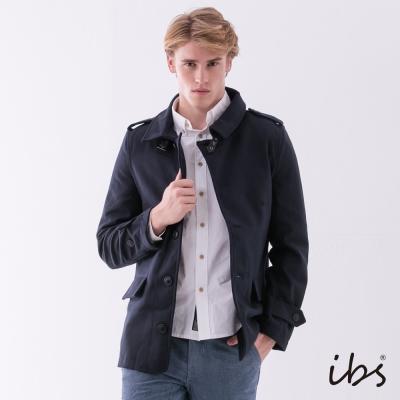 IBS 單排扣毛呢軍裝外套-深藍-男