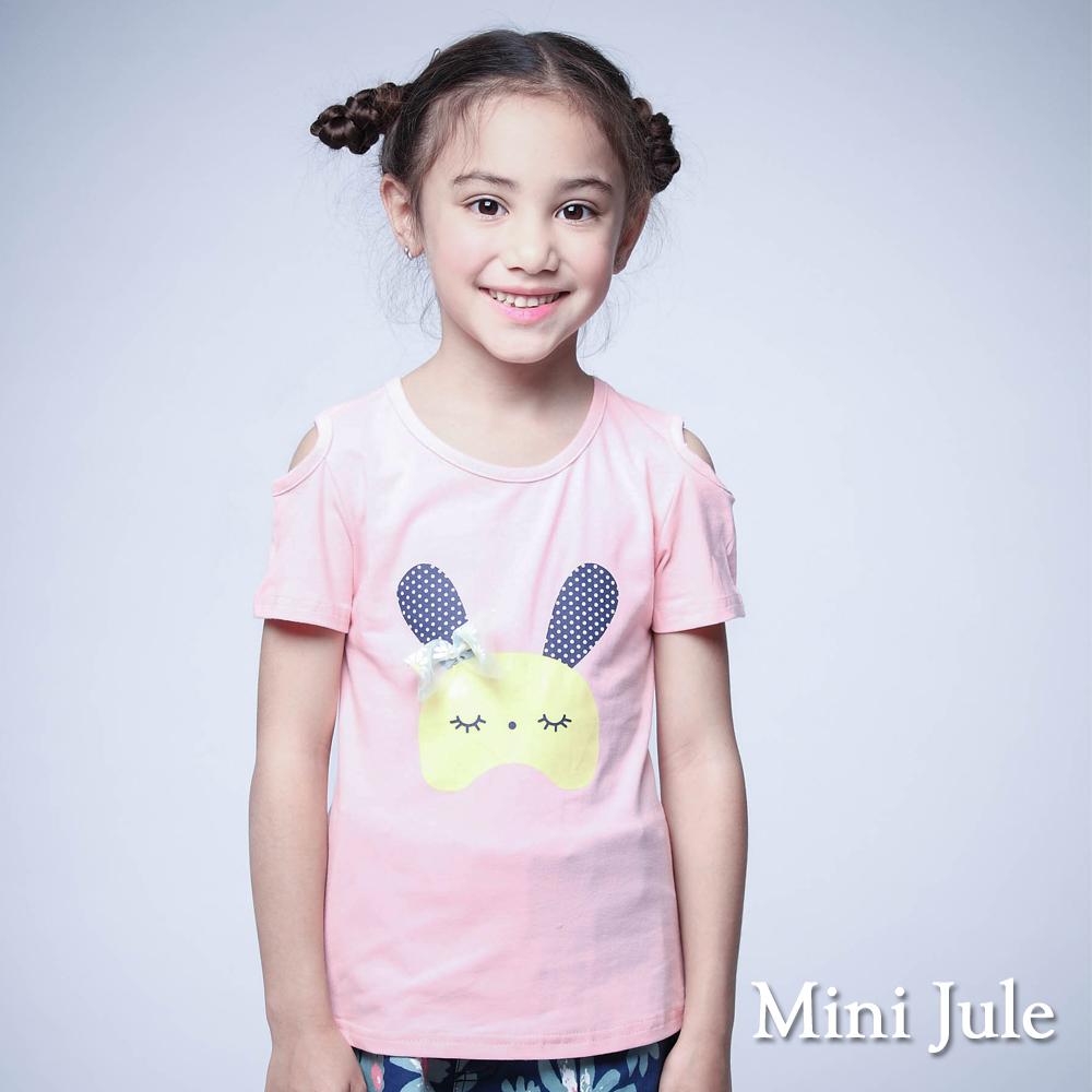 Mini Jule-上衣 兔子花朵蝴蝶結露肩棉T(粉)