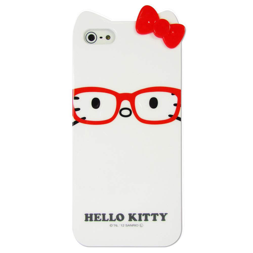 Gourmandise iPhone5/5S Kitty 立體蝴蝶結保護套(紅色眼鏡)