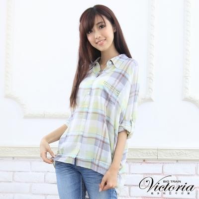 Victoria 鉚釘格紋印花BLOUSE-女-淺綠