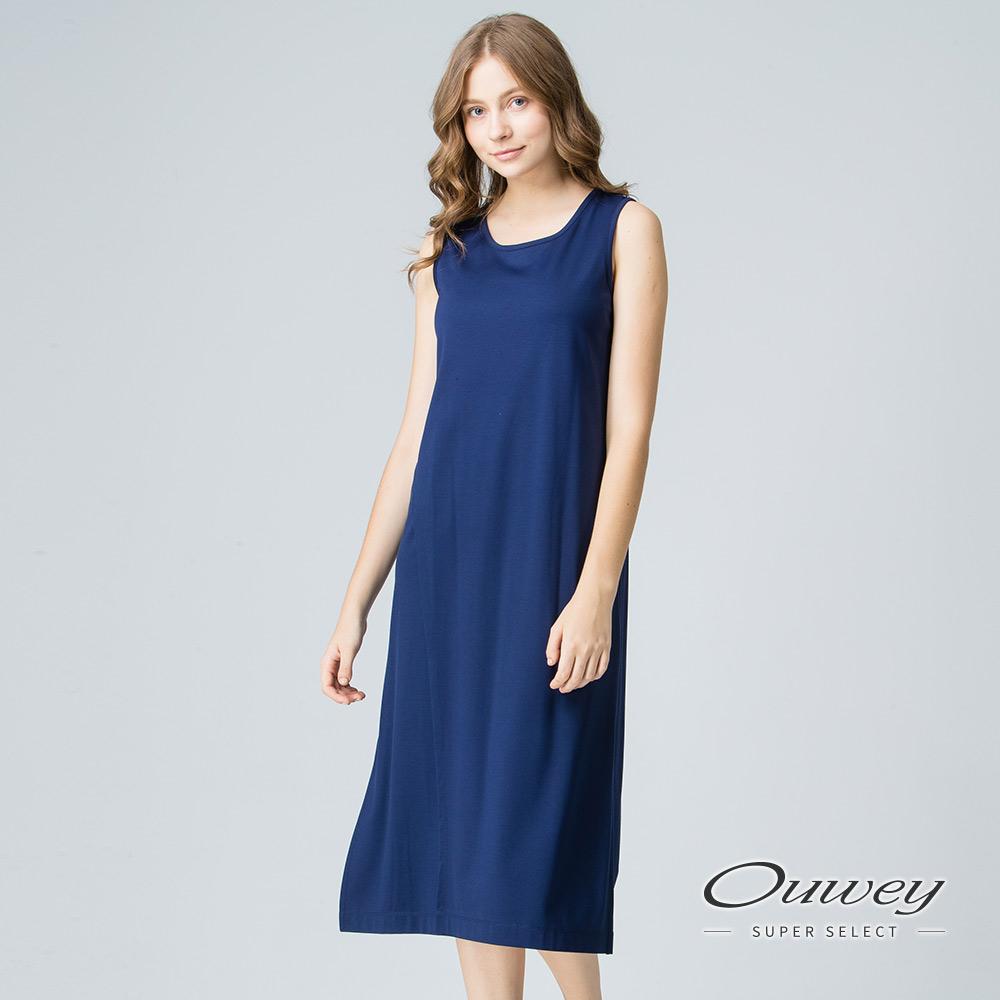 OUWEY歐薇 都會百搭斜裁背心洋裝(黑/藍)