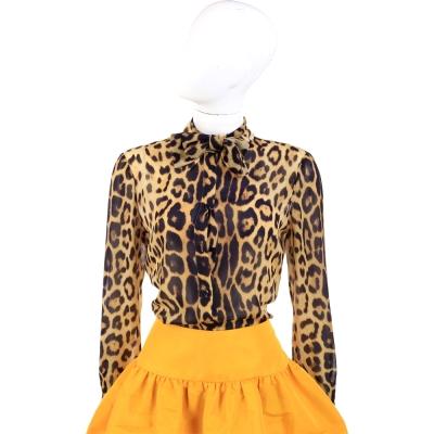MOSCHINO 豹紋蝴蝶結領紗質襯衫