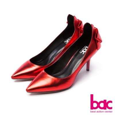 bac浪漫美學-後腫拉高蝴蝶結裝飾尖頭高跟鞋-紅