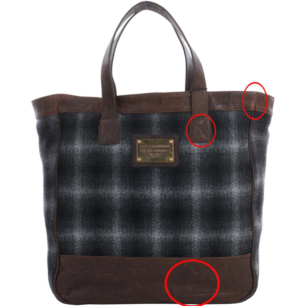DOLCE & GABBANA 咖啡色拼接毛呢購物包(展示品)